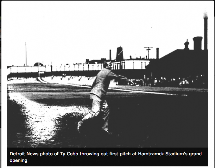 Ty Cobb throwing out the first pitch at Hamtramck Stadium. Photo courtesy Friends of Historic Hamtramck Stadium.