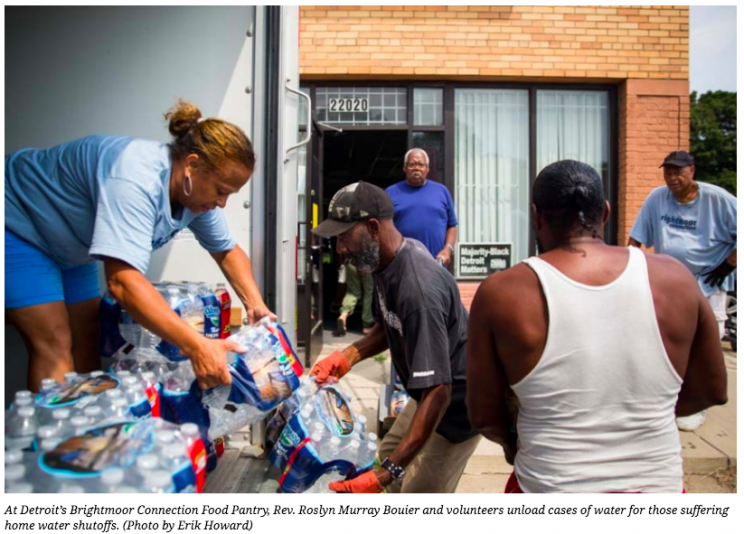 At Detroit's Brightmoor Connection Food Pantry, Rev. Roslyn Murray Bouier and volunteers unload cases of water for those suffering home water shutoffs. (Photo by Erik Howard)